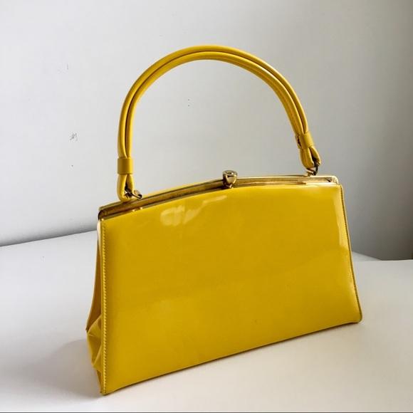 82dd0757da2 Vintage Bags   Yellow Patent Leather Purse 1950s Handbag   Poshmark
